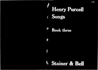 Henry Purcell Songs - Book Three