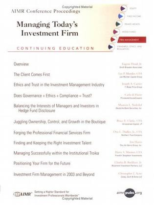 Managing Today's Investment Firms