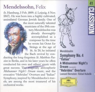 """Mendelssohn:Symphony No.4 """"Italian"""", A Midsummer Night's dream, """"Hebrides"""" Overtune"""