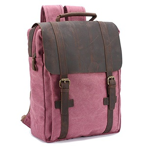 EcoCity Vintage Leather Canvas Computer Rucksack Backpacks School Bag For Girls (Rose red)的图片