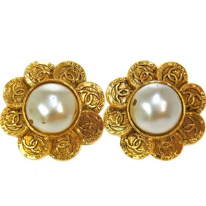 Auth CHANEL Vintage CC Logos Imitation Pearl Earrings Clip-On 28 France 531-8aa的图片