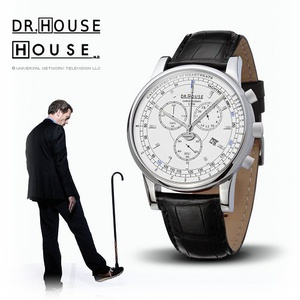House M.D. 7164 Men's Analog Quartz Watch with Chronograph, White Dial, Black Strap的图片