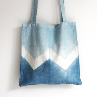 Naturally Dyed Organic Cotton Tote Shopper Bag - Indigo Shibori