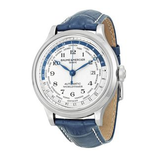 Baume and Mercier Capeland Worldtimer Silver Dial Blue Leather Mens Watch M0A101