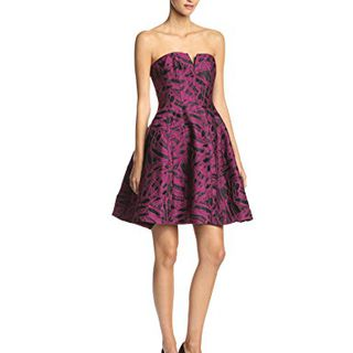 HALSTON HERITAGE Women's Strapless Jacquard Cocktail Dress with Tulip Skirt, Boysenberry/Black Abstract Brushstroke, 2