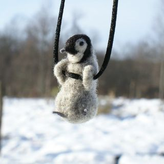 Tiny Baby Penguin Necklace or sculpture made to order - Needle Felted