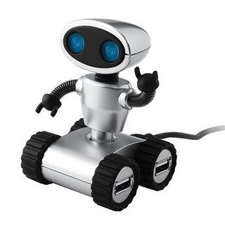 4 Open Port USB 2.0 Robot Hub with Blue Light Up Eyes的图片