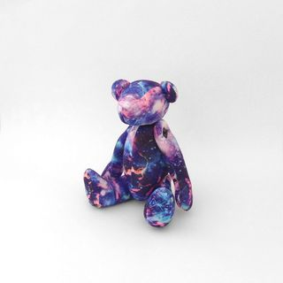 Psychedelic Galaxy print Teddy Bear, Astronomy Stuffed  Bear, Plush Toy, blue purple pink
