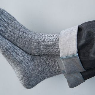 Hand Knitted Wool Socks men light gray grey for him的图片