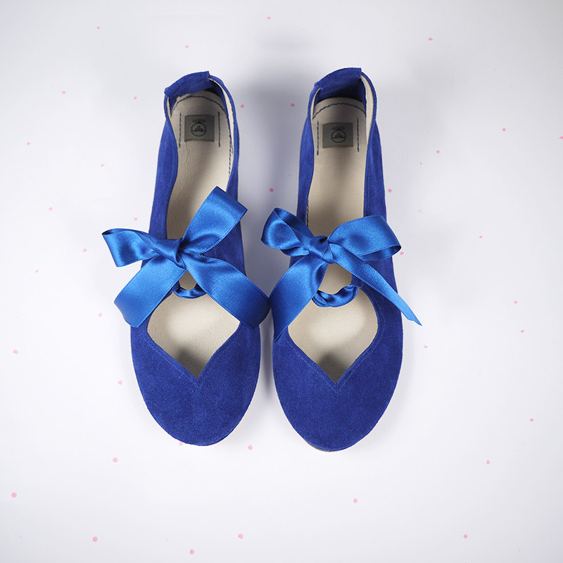 Heart Shaped Soft Royal Cobalt Blue Handmade Ballet Flats