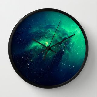 Galaxy Print Unique Wall Clock. Wall Decor. Wall Art. Navy Mint Green Galaxy Pattern. Home Decor. Unique Gift.