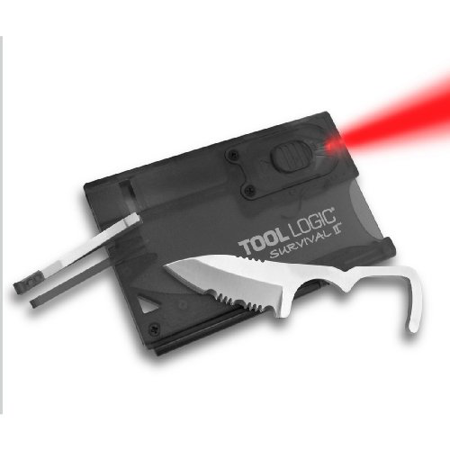 Tool Logic SVC2 Survival Card with Fire Starter and Light, Charcoal的图片