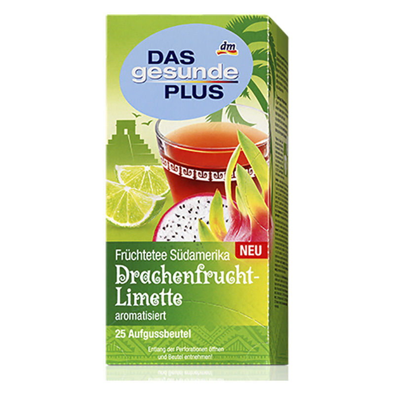 DAS GESUNDE PLUS FRUIT SOUTH AMERICA DRAGON FRUIT - LIME TEA 25 BAGS