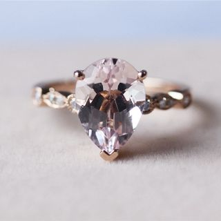 2.75ct Pear Cut Morganite Ring 14K Rose Gold Morganite Ring Wedding Ring Engagement Ring Anniversary Ring