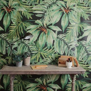 Banana Leaf  Watercolor Wall Mural 墙纸 (365 x 274 cm)的图片