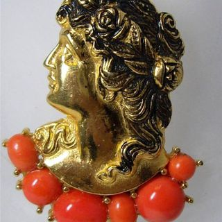 Vintage Signed Hattie CARNEGIE Coral Cabochon Female Profile Cameo BROOCH PIN的图片