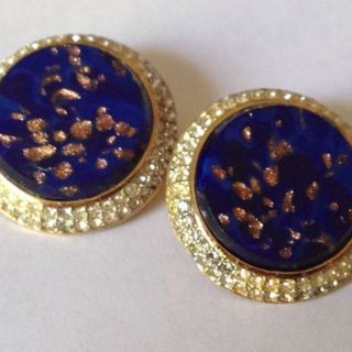 Vintage Nina Ricci Faux Lapis Clip Earrings的图片