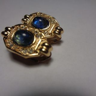 Vintage Authentic CHRISTIAN DIOR Blue Glass Rhinestone Clip-On Earrings- Estate的图片