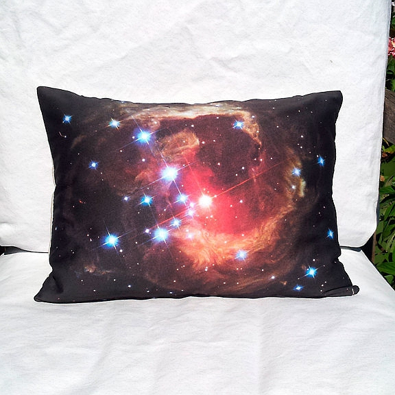 "Monocerotis Nova 16"" x 12"" Pillow Cover - NASA Hubble Space Image / Red, Orange, White, Black"