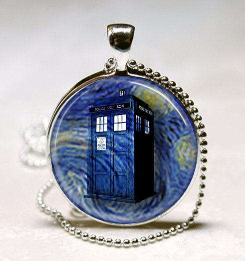 Doctor Who Necklace Tardis Blue Police Box Van Gogh Starry Night Dr Who Art Pendant with Ball Chain Included