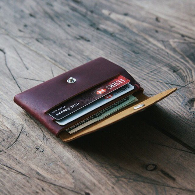Red Wine Leather Snap Wallet
