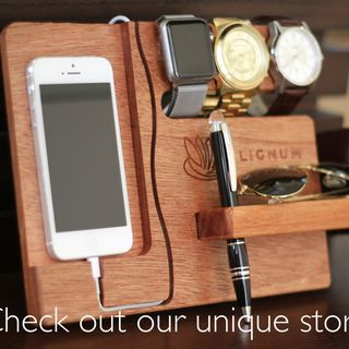 Docking Station, Apple Watch Charging Station, Apple Watch Stand, iPhone Dock, Tech Organizer, Gift for Dad, Gift for Hi