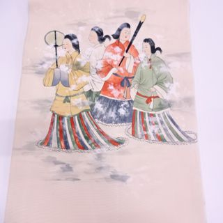 名古屋带·姬柄 03782# JAPANESE KIMONO / ANTIQUE NAGOYA OBI / KASUMI & PEOPLE IN THE PAST