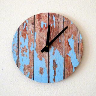 Cottage Chic Wall Clock, Featured In Lucky Magazine, Home Decor, Decor and Housewares, Blue Wood, Home and Living, Reclaimed Decor