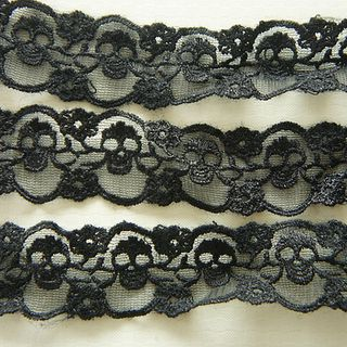 2 Yards Skull Lace Trim (30mm wide) Black的图片