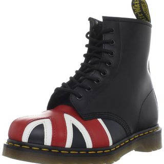 Dr. Martens 1460 Originals Union Jack 8 Eye Lace Up Boot,Black Smooth Leather,3 UK (4 M US Mens / 5 M US Womens)的图片