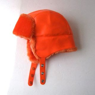 vintage 80s hunting hat. neon orange winter hat.