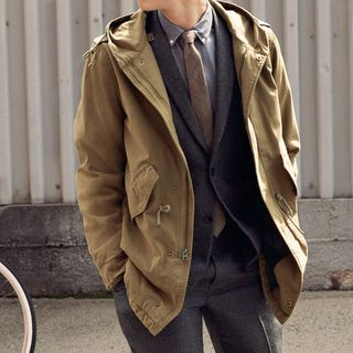 Hooded Twill Anorak Jacket by Levi's