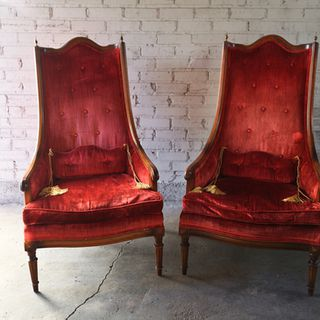 Pair Vintage Red Velvet Chair(s) w/ tassled Pillows