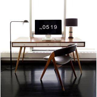 Jeremiah Collection Mid Century Desk With Walnut Or Gloss White Drawers No Cord Management的图片