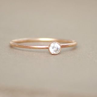 gold ring. CZ diamond. birthstone ring. ONE delicate stackable birthstone ring. mothers ring. 14k gold filled. engagement ring.