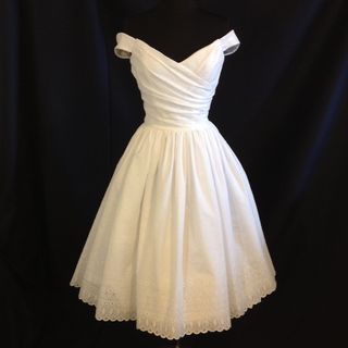 Wedding Dress Tea Length, FLIR-TINI , Off Shoulder Cotton Eyelet, Silk
