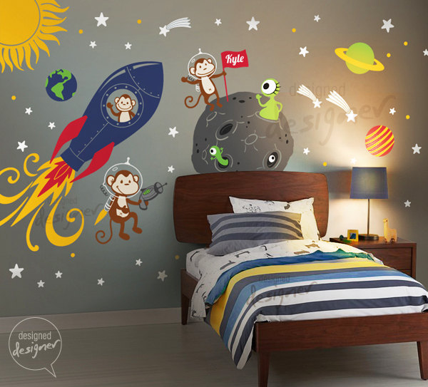 Monkey Wall Decal, Rocket ship, alien, planet, space, astro, boys, Children Wall Decal Wall sticker - dd1072