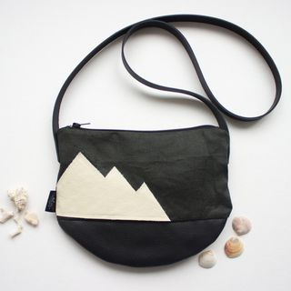 Natural cross body bag, linen and leather day bag, Cream Mountain design