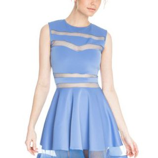 made2envy Mesh See-Through Sheer Block Skater Sleeveless Mini Dress (M, Light Blue)