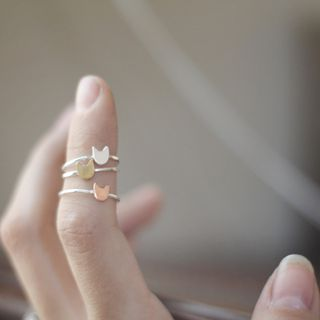 Cat's Meow ||| One Sterling Silver Kitty Cat Stack Ring - Brass / Copper or Sterling Silver Cat Ring - Handcrafted Love