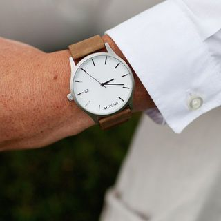 White and Tan Watch by Mvmt - $95