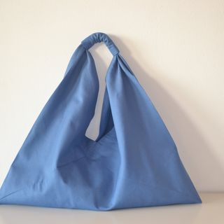 Shopping Bag, Tote Bag, Triangle bag, canvas, Sky-blue的图片