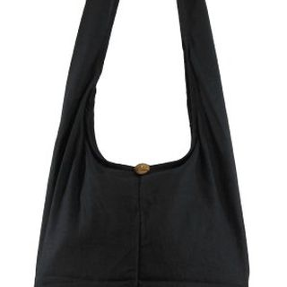 Black Cotton Crossbody Shoulder Hippie Boho Hobo Messenger Bag CB05的图片