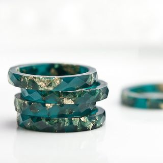 Teal Resin Stacking Ring Gold Flakes Thin Faceted Ring OOAK boho minimalist jewelry deep teal emerald petrol blue rusteam的图片