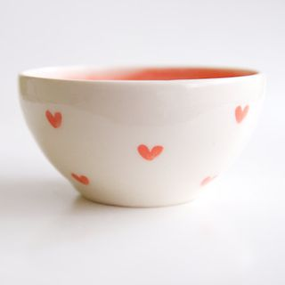 Heart Bowl in White and Coral- Vintage-inspired pottery by RossLab
