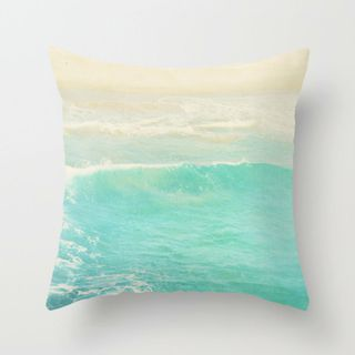 beach cottage decor, pillow cover, peppermint blue ocean wave, beach photography, nautical surfer home decor modern bedd