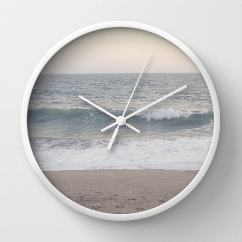 Minimalist Wall Clock, Beach Landscape Photography, Pastel Home Decor, Blue Tan Beige White, Summer Housewares, Ocean