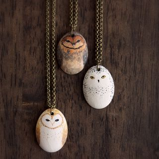 Little Owl Necklace- porcelain owl totem necklace[猫头鹰项链]